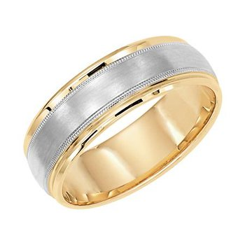 14K Brush & Plush Two-Tone Wedding Band