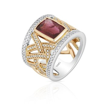 Openwork Rubellite & Diamond Ring 18K