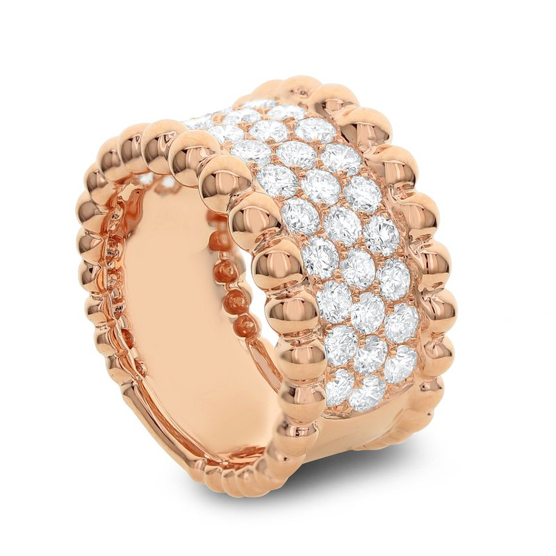 London Gold Designs Wide Bead Diamond Band 18KR