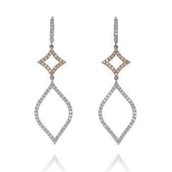 Open Diamond Dangle Earrings 18K