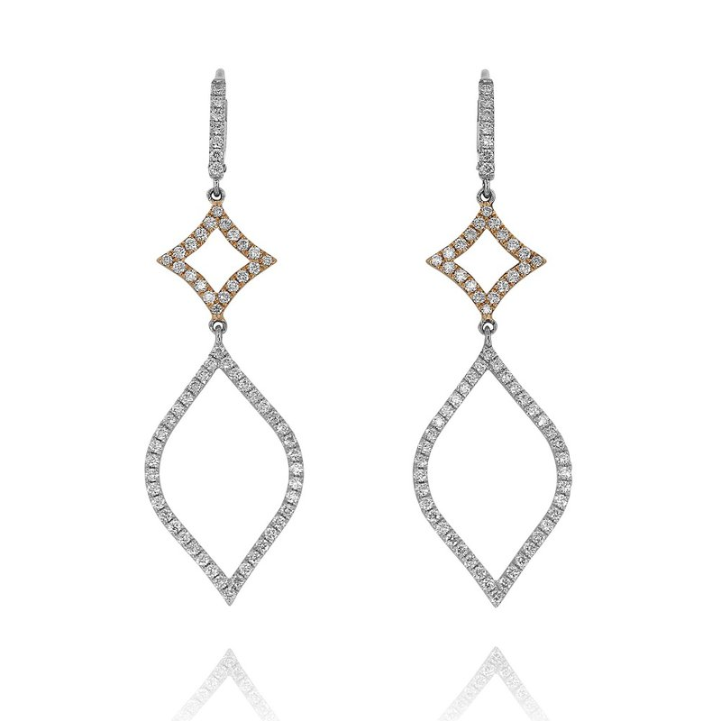 Yael Designs Open Diamond Dangle Earrings 18K