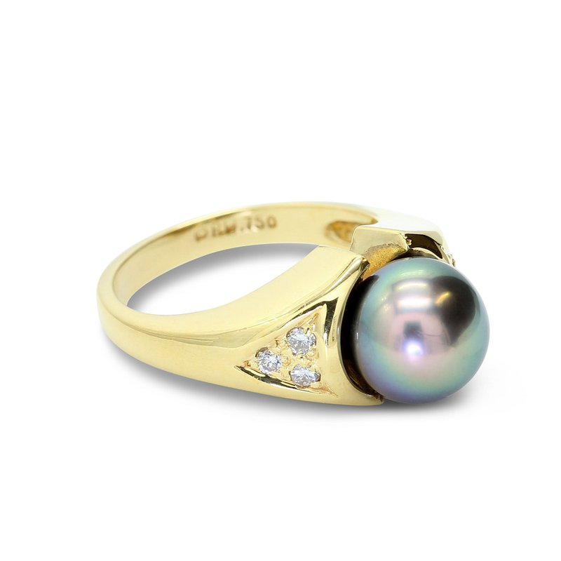 London Gold Designs Cultured Tahitian Pearl Ring 18KY