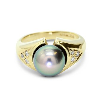 Cultured Tahitian Pearl Ring 18KY