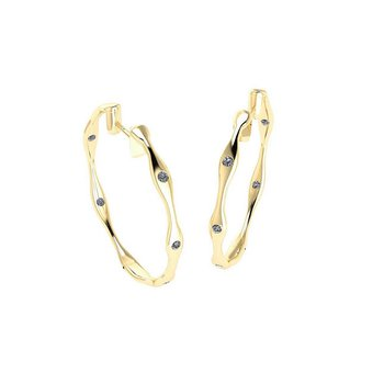 Diamond Hoop Earrings 18KY