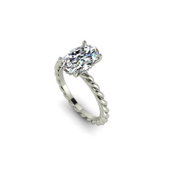 2mm Rope Solitaire Ring 14KW - Custom Order