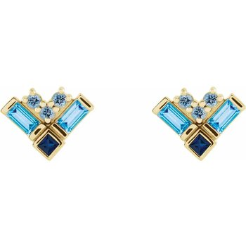 Gemstone Cluster Earrings 14KY