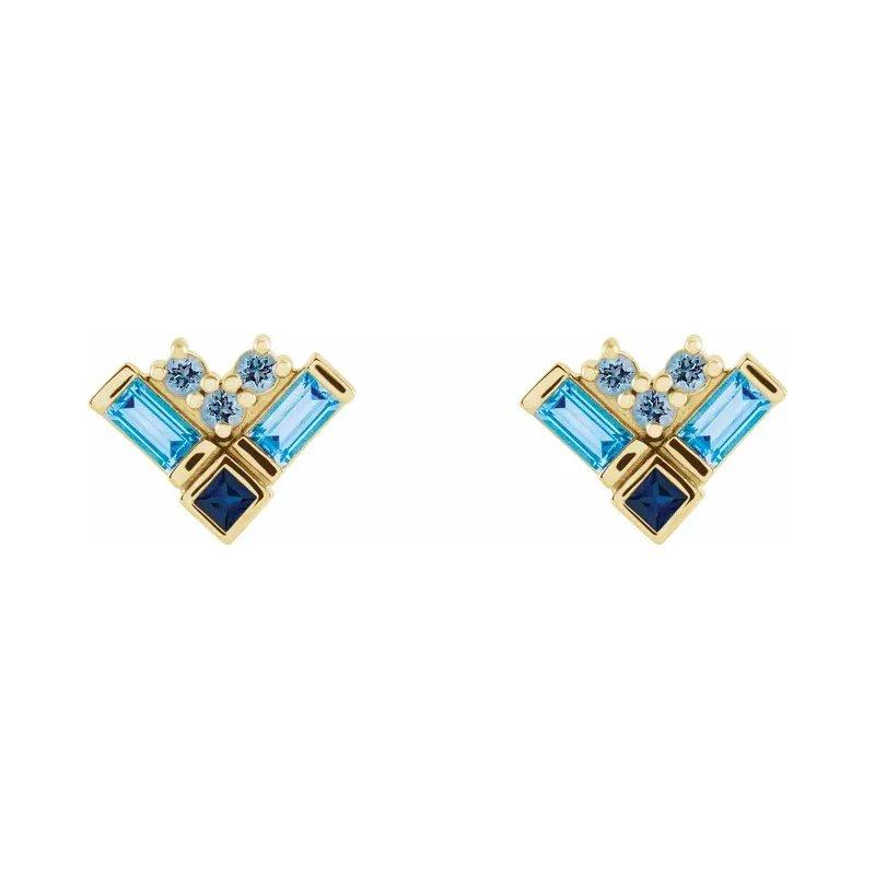 Gallery Designs Gemstone Cluster Earrings 14KY