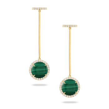 Verde Malachite & Diamond Stick Dangles