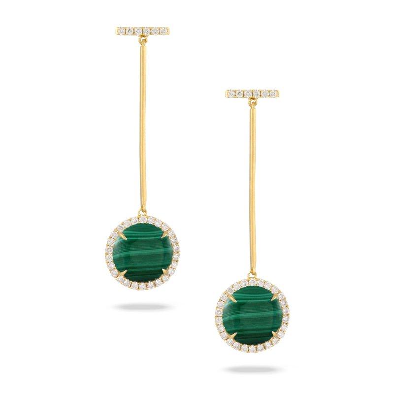 Doves Verde Malachite & Diamond Stick Dangles