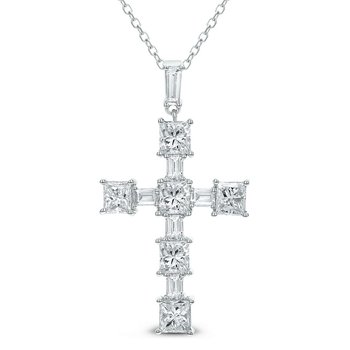 Diamond Cross Pendant 18KW