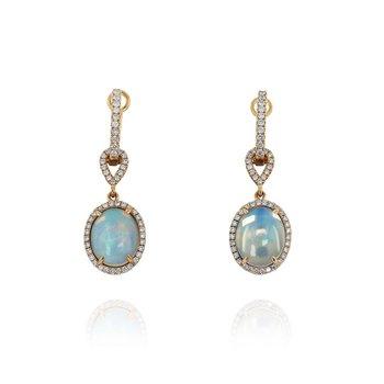 Opal & Diamond Halo Dangles