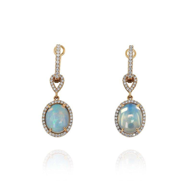 Yael Designs Opal & Diamond Halo Dangles