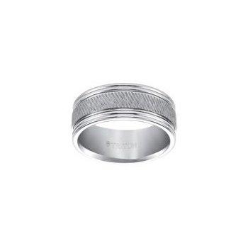 Diagonal Cut White Tungsten Engraved Wedding Band