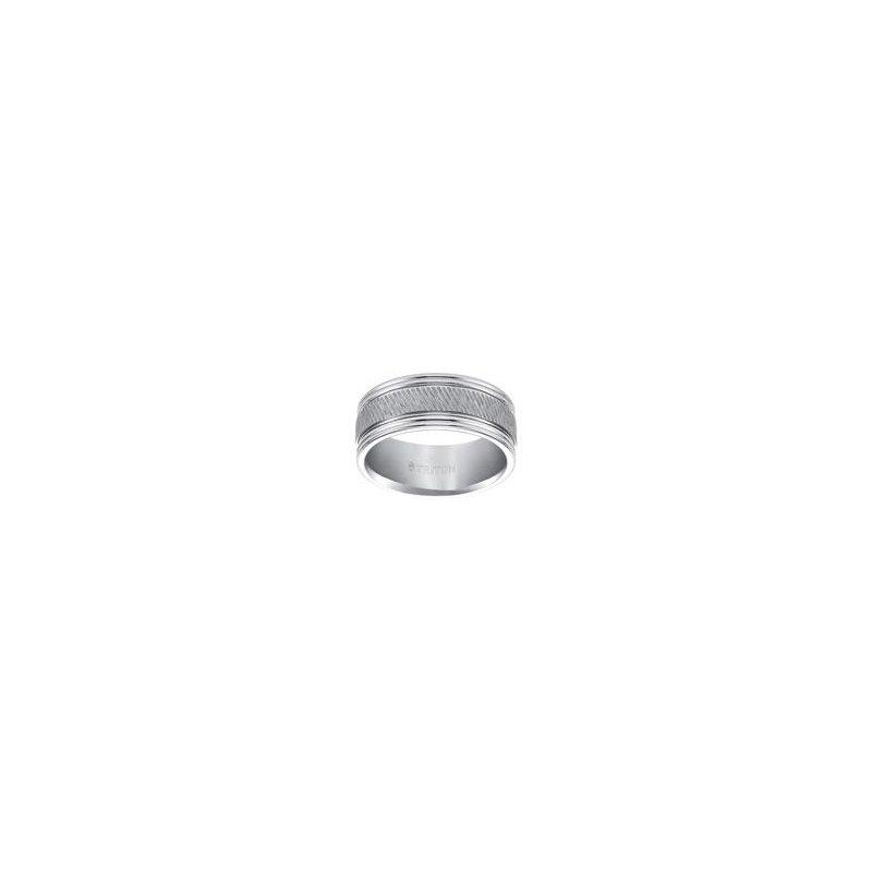 Frederick Goldman Diagonal Cut White Tungsten Engraved Wedding Band