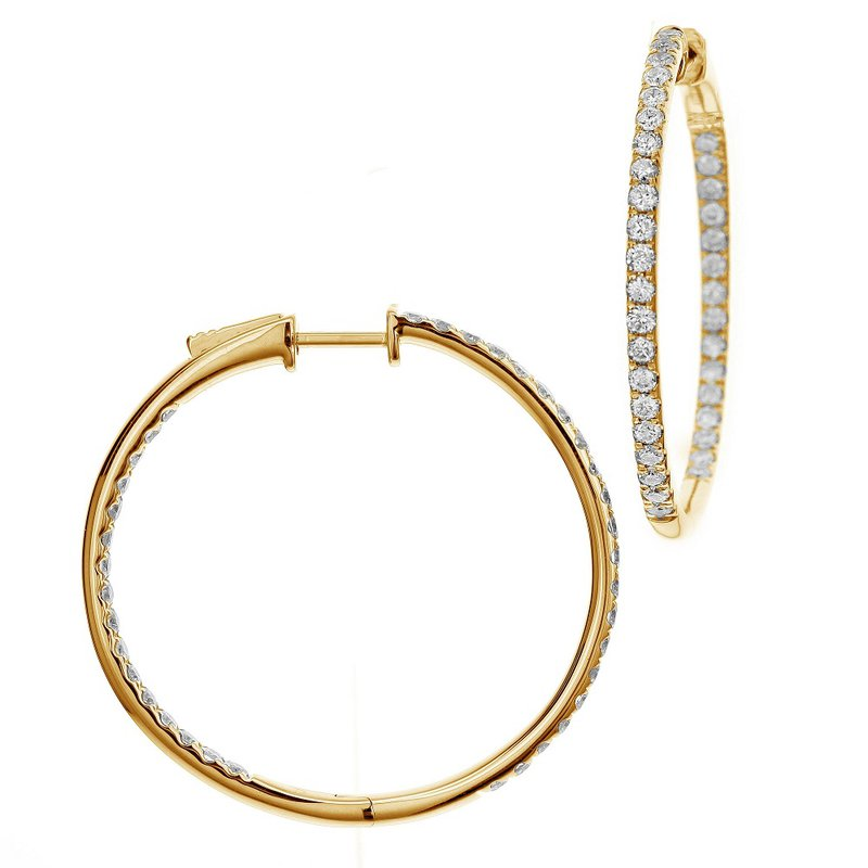 London Gold Designs 1.00ct Diamond Inside-Out Hoops 14KY