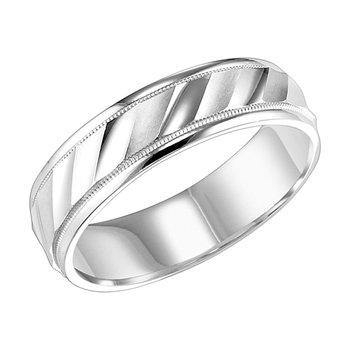 14KW White Gold Engraved Wedding Band