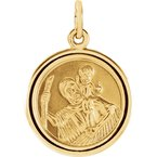 Gallery Designs St. Christopher Medal 14KY 18mm