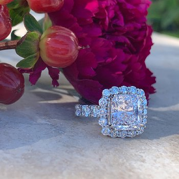 4.01 Radiant Halo Engagement Ring 18KW