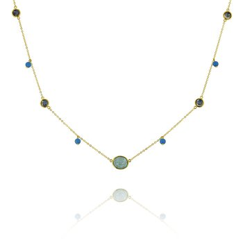 Multi Stone Station Necklace 18KY