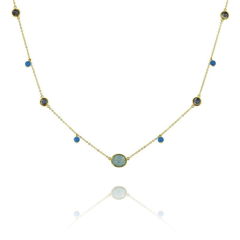 Yael Designs Multi Stone Station Necklace 18KY