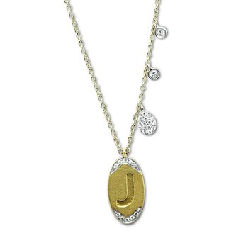 Initial 'J' Charm Necklace 14KY