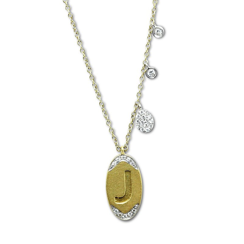 Meira T Initial 'J' Charm Necklace 14KY