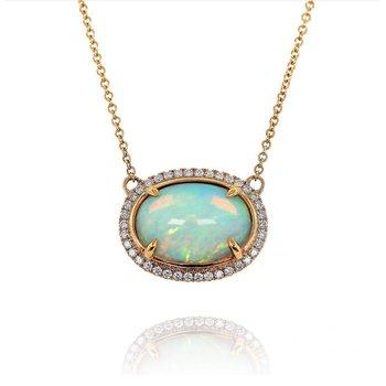 Opal & Diamond Halo Necklace