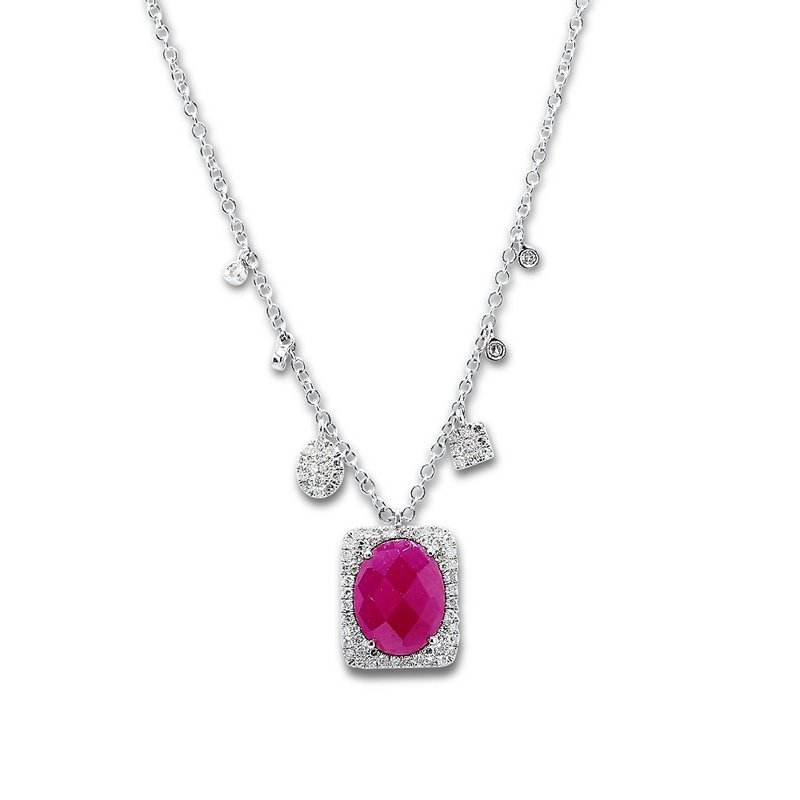 Meira T Ruby Halo Charm Necklace 14KW