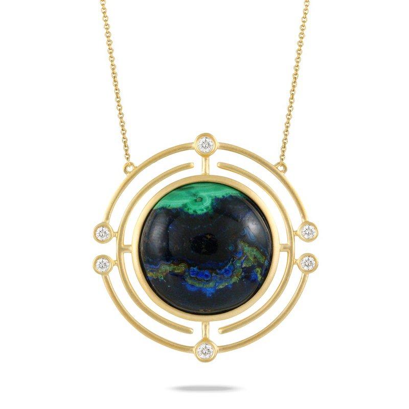 Doves Azurite Malachite & Diamond Necklace