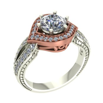 Rose Gold Halo Ring - Setting Only