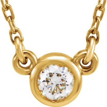 Diamond Solitaire Necklace 14KY