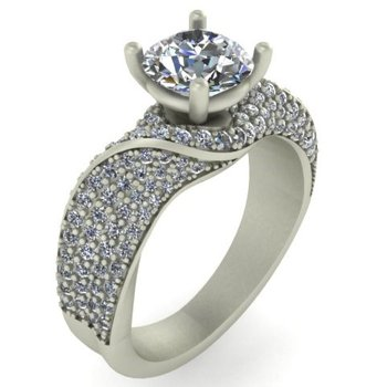 Pave Diamond Engagement - Setting Only