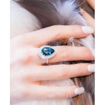 London Blue Topaz & Diamond Ring 18KW