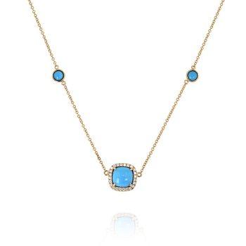 Turquoise & Diamond Station Necklace