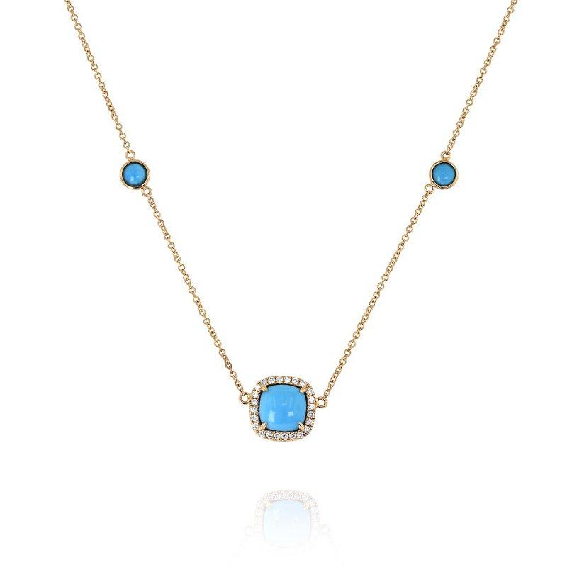 Yael Designs Turquoise & Diamond Station Necklace