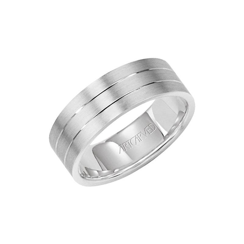 "ArtCarved 14k White Gold ""Love Light"" Comfort Fit Wedding Band"