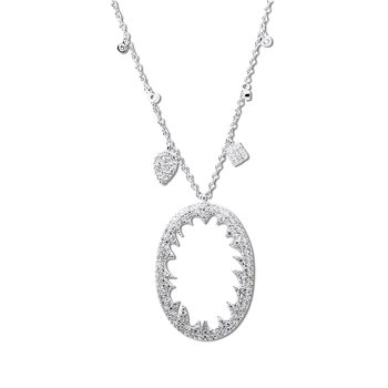 Oval Charm Necklace 14KW