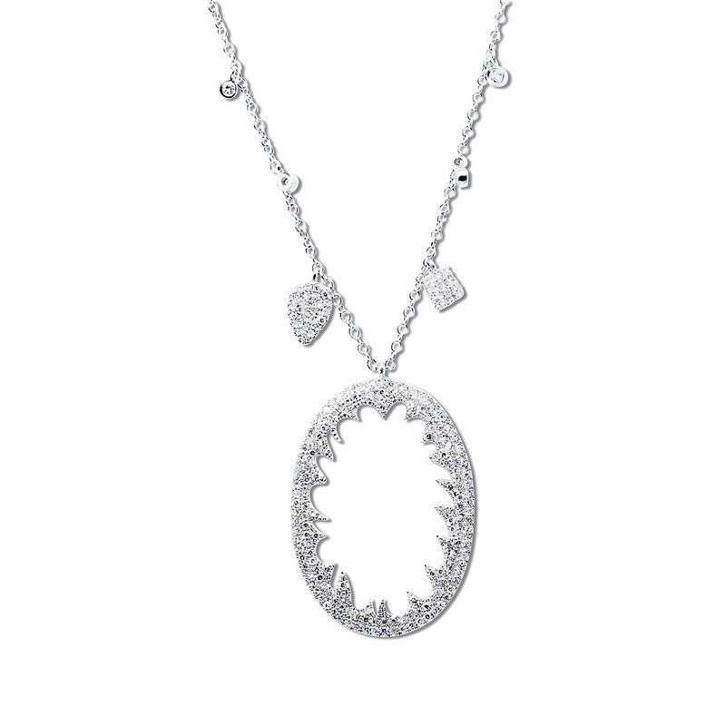 Meira T Oval Charm Necklace 14KW