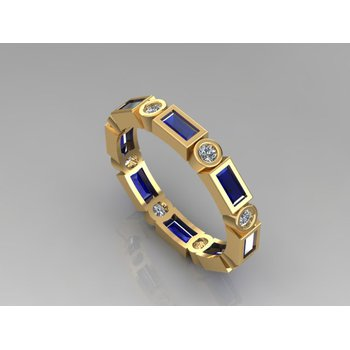 Stackable Diamond & Baguette Sapphire Ring