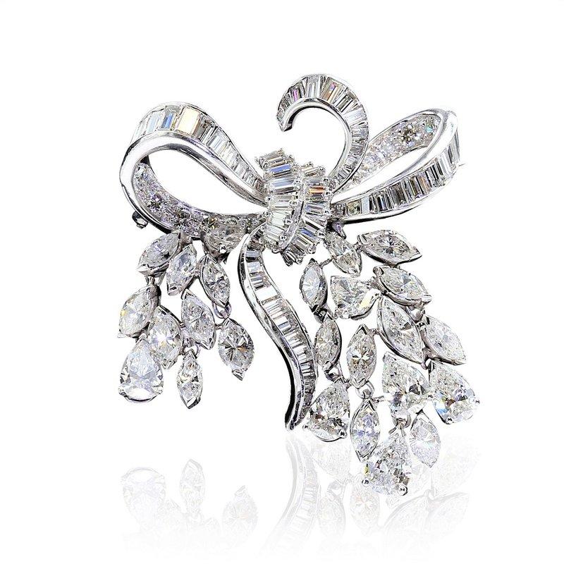 Estate Jewelry Diamond Set Ribbon Brooch