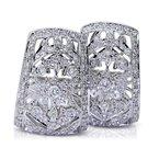 Estate Jewelry Diamond Clip-On Earrings 18KW