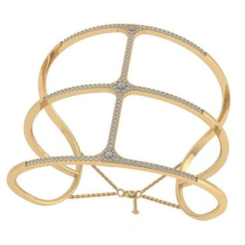 Open Diamond Cuff Bracelet 18KY