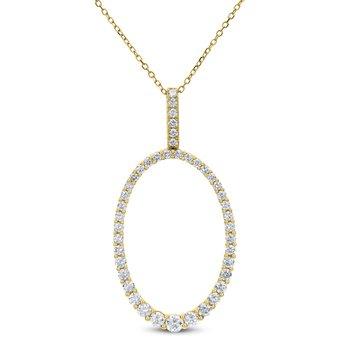 Oval Shape Diamond Pendant 18KY