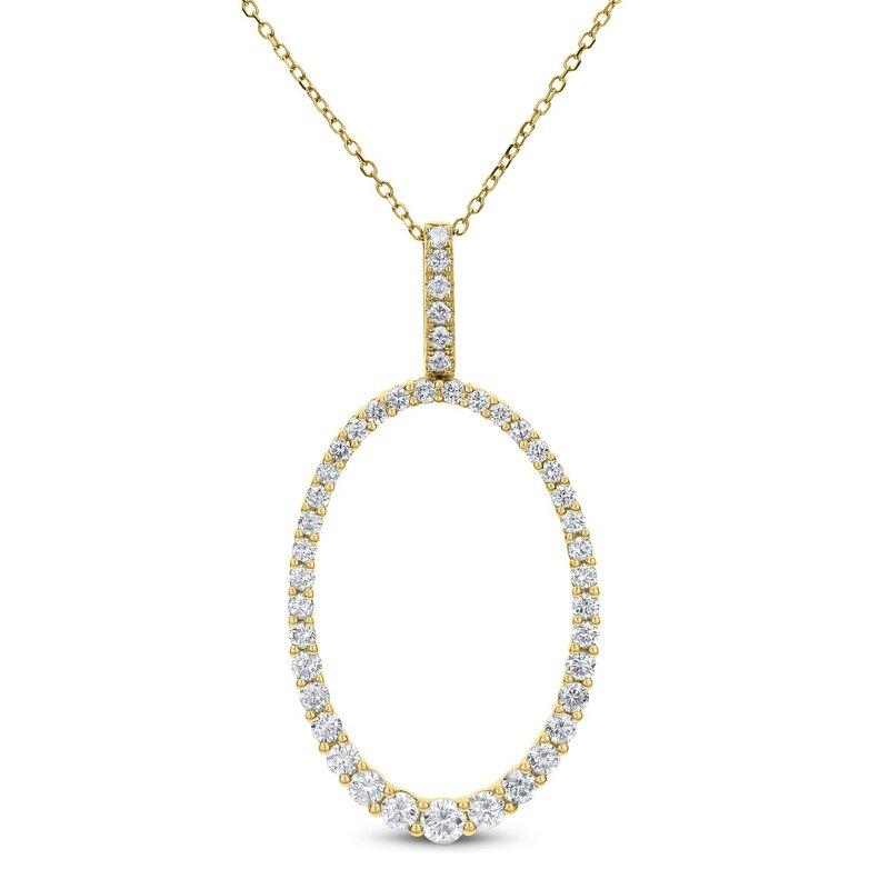 London Gold Designs Oval Shape Diamond Pendant 18KY