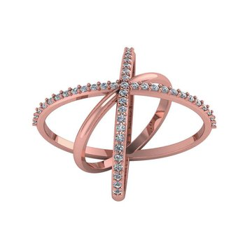 Diamond Crisscross Ring 14KR