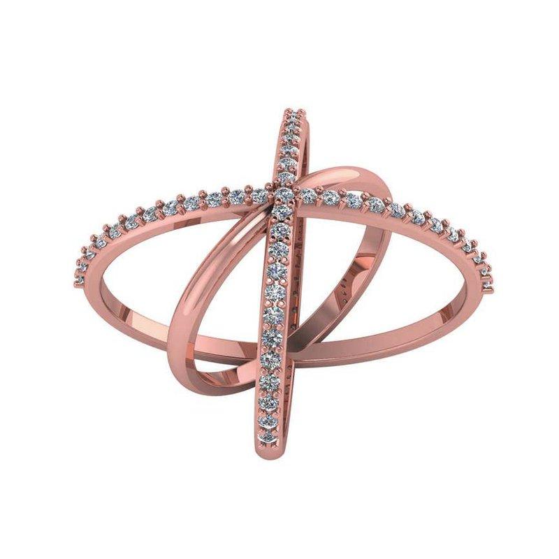 London Gold Designs Diamond Crisscross Ring 14KR