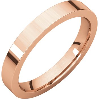 14K Rose 3mm Flat Comfort Fit Band