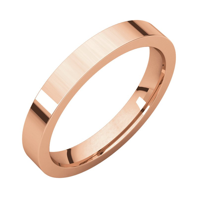 Gallery Designs 14K Rose 3mm Flat Comfort Fit Band