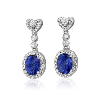 Tanzanite & Diamond Dangles 18K