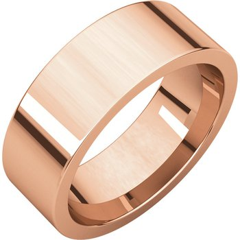 14K Rose 7mm Flat Comfort Fit Band
